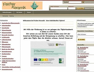 Screenshot der Webseite der Töpferei.