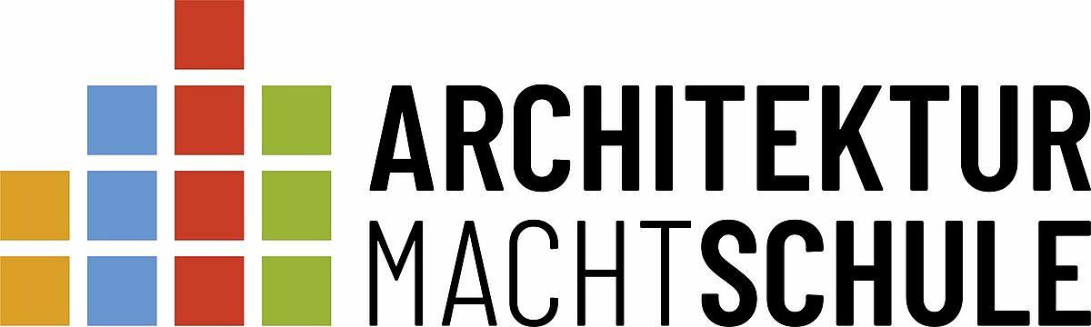 """Das Logo mit bunten Quadraten und dem Schriftzug """"Architektur macht Schule""""."""