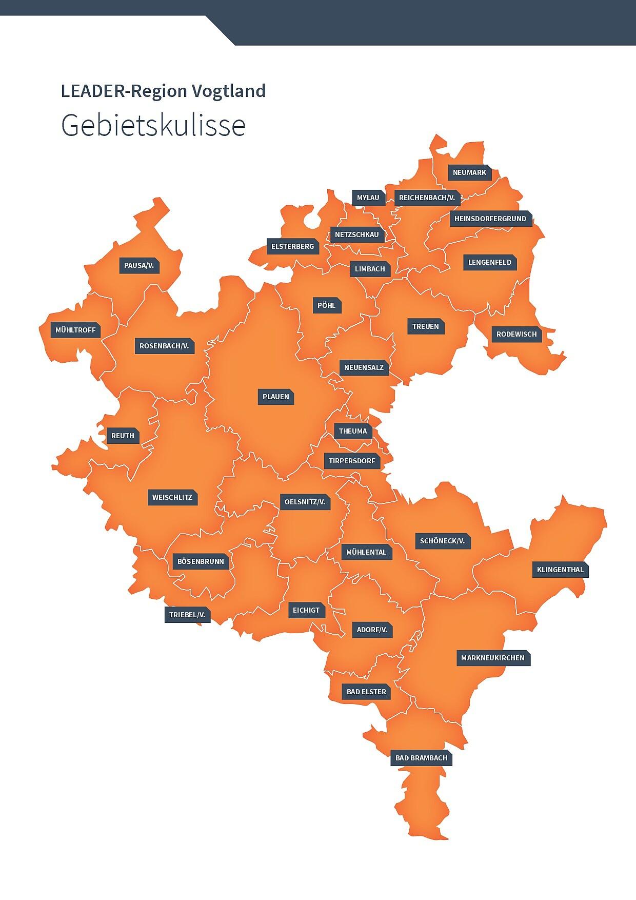 Die Abbildung zeigt eine Karte der Gebietskulisse der LEADER Region Vogtland mit allen zugehörigen Städten und Gemeinden des Vogtlandkreises.
